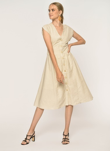 Loves You Belİ Korsajlı Keten Elbise Bej